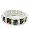 White Bob Marley &quot;One Love&quot; Wooden Stretch Bracelet - up to 20cm length
