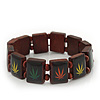 Brown Wooden &#039;Hemp Leaf&#039; Stretch Bracelet - Adjustable