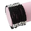 Multistrand Black Glass/Silver Acrylic Bead Flex Bracelet - 19cm Length