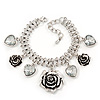 Vintage &#039;Rose&amp;Heart&#039; Mesh Charm Bracelet In Burn Silver Metal - 17cm Length/ 4cm Extension