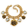 Vintage 'Rose&Heart' Mesh Charm Bracelet In Burn Gold  Metal - 17cm Length/ 4cm Extension
