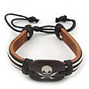 Unisex Dark Brown Leather &#039;Skull&#039; Friendship Bracelet - Adjustable
