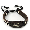 Unisex Dark Brown Leather &#039;Scorpio&#039; Friendship Bracelet - Adjustable