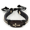 Unisex Dark Brown Leather &#039;Cross&#039; Friendship Bracelet - Adjustable
