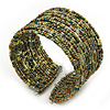 Boho Green/Brown/Gold Glass Bead Cuff Bracelet - Adjustable (To All Sizes)