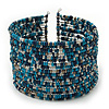 Boho Pastel Blue/Metallic/Night Blue Glass Bead Cuff Bracelet - Adjustable (To All Sizes)