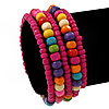 Teen's Magenta Glass/ Multicoloured Wood Bead Multistrand Flex Bracelet - Adjustable