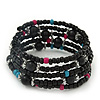 Teen's Black Acrylic Bead Multistrand Bracelet - Adjustable