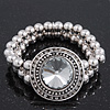 Burn Silver Metal Bead &#039;Watch&#039; Style Flex Bracelet - 18cm Length