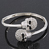 Clear Swarovski Crystal &#039;Double Skull&#039; Flex Bangle Bracelet In Silver Plating  - Adjustable