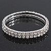 2-Row Clear Swarovski Crystal Flex Braclet In Rhodium Plating - 19cm Length