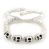 White Acrylic 'Skull' Buddhist Bracelet - 11mm - Adjustable