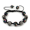 Black Acrylic/Diamante Bead Children/Girls/ Petites Teen Shamballa Bracelet On Black String - Adjustable