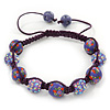 Purple Acrylic/Diamante Bead Children/Girls/ Petites Teen Buddhist Bracelet On Deep Purple String - Adjustable