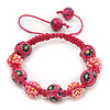 Deep Pink Acrylic/Diamante Bead Children/Girls/ Petites Teen Shamballa Bracelet On Pink String - Adjustable