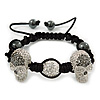 Silver Plated Swarovski Crystal Skull and Hematite Bead Buddhist Bracelet - Adjustable - 23mm Diameter