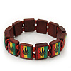 &#039;Hemp Leaf&#039; Brown Wood Bob Marley Style Stretch Bracelet