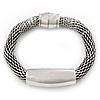 Burn Silver Mesh Magnetic Bracelet - 20cm Length