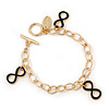 Gold Plated Black Enamel 'Infinity' Charm Bracelet With T-Bar Closure - 18cm Length