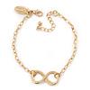 Polished Gold Plated 'Infinity' Bracelet - 18cm Length/ 5cm Extension