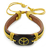 Unisex Dark Brown/ Yellow Leather &#039;Peace&#039; Friendship Bracelet - Adjustable