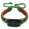 Unisex Dark Brown/ Green Leather &#039;Peace&#039; Friendship Bracelet - Adjustable
