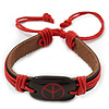 Unisex Dark Brown/ Red Leather &#039;Peace&#039; Friendship Bracelet - Adjustable