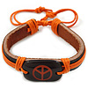 Unisex Dark Brown/ Orange Leather &#039;Peace&#039; Friendship Bracelet - Adjustable