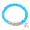Light Blue Glass Bead Stretch Bracelet with Swarovski Crystal Detailing and Silver Swallow Charm - 5mm - Up to 20cm Length