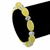 Lemon Yellow/ Transparent Glass Bead Stretch Bracelet - 17cm Length