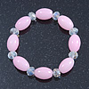 Baby Pink/ Transparent Glass Bead Stretch Bracelet - 17cm Length