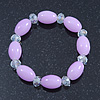 Lavender/ Transparent Glass Bead Stretch Bracelet - 17cm Length