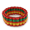 Multicoloured Wood Bead Flex Bracelet (Orange/Green/Yellow) - 18cm Length