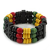 Red, Yellow, Green &amp; Black Rasta Wood Bead Bob Marley Style Flex Bracelet