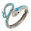Sleek Light Blue Acrylic Bead Snake Hinged Bangle Bracelet In Silver Plating