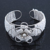 Fancy Glass Bead Floral Cuff Bracelet In Silver Tone - Adjustable - White