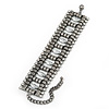 Wide Gun Metal Structured Bracelet With Clear Crystals - 17cm (9cm Extension)