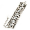 Wide Rhodium Plated Structured Bracelet With Clear Crystals - 17cm (9cm Extension)