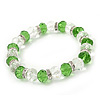 Green/ Transparent Glass Bead With Silver Tone Crystal Ring Stretch Bracelet - up to 21cm Length