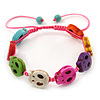 Unisex Multicoloured Plastic 'Skull' Friednship Bracelet On Silk String - Adjustable