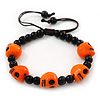 Orange Acrylic Skull Bead Children/Girls/ Petites Teen Friendship Bracelet On Black String - (13cm to 16cm) Adjustable