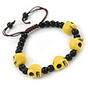 Yellow Acrylic Skull Bead Children/Girls/ Petites Teen Friendship Bracelet On Black String - (13cm to 16cm) Adjustable
