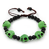 Green Acrylic Skull Bead Children/Girls/ Petites Teen Friendship Bracelet On Black String - (13cm to 16cm) Adjustable