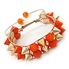 Orange/ Gold Acrylic Spike Friendship Bracelet On Beige Silk Cord - Adjustable