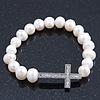 Swarovski Crystal Sideways Silver Tone Cross Freshwater Pearl Flex Bracelet Horizontal - up to 18cm Length/ 9mm