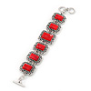Vintage Red Ceramic Stone Square Filigree Bracelet With Toggle Clasp -18cm Length