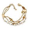 Vintage Inspired Multistrand Freshwater Pearl, Butterfly, Crystal Chain Bracelet - 16cm Length/ 3cm Extension