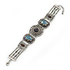 Victorian Style Filigree, Light Blue Bead Bracelet In Antique Silver Tone - 16cm Length/ 3cm Extension