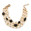Vintage Inspired Faux Pearl, Black Acrylic Bead Multistrand Bracelet In Gold Tone - 16cm Length/ 3cm Extension