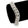Clear Swarovski Crystal Curved Bracelet In Rhodium Plated Metal - 17cm Length